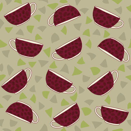 cosiness: Warm coloured background with coffee cups and coffee beans. Colorful decoration for background or wrapping.