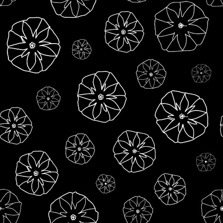 ipomoea: Black and White Seamless Pattern with  Ipomoea Flowers. Shadeless Monochrome retro ornate. Plain texture with Convolvulus Flowers for decoration or background.