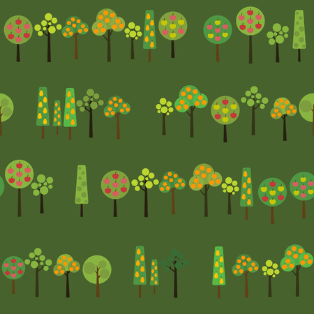 harvest time: Harvesting Fruits trees. Texture with various apple, orange and pear trees in the garden. Autumn season illustration with Fruit trees in Harvest time. Seamless vector pattern.