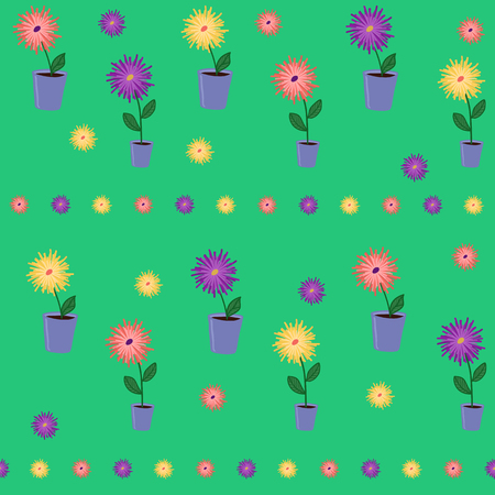 flower pots: Colorful background with flowers in the metal pots.  Plain floral background for wallpaper or decoration. Stylized Seamless texture with flower pots. Illustration