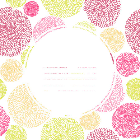 Colorful text frame. Seamless texture with circles. Pink and yellow colors. Endless. Hand drawn beads. Round elements. Stylized backdrop with arcs. Can be used as seamless pattern.
