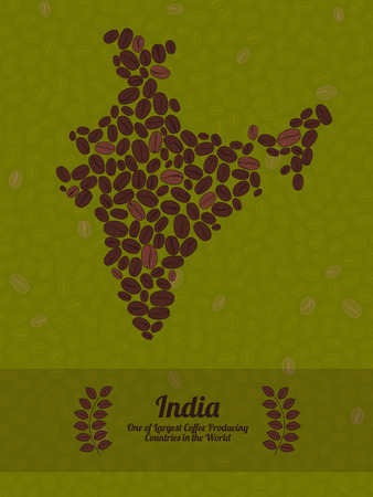 green coffee beans: Map of India made out of coffee beans. Raw green coffee beans background. Coffee beans flyer or leaflet. India map poster or card.