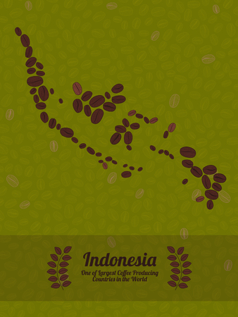 green coffee beans: Map of Indonesia made out of coffee beans. Raw green coffee beans background. Coffee beans flyer or leaflet. Indonesia map poster or card.