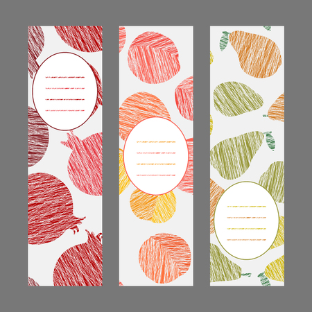 Series of harvest fruit banners. Set of Vertical flyers. Scratched pomegranate pear and peach flyer series. Healthy lifestyle Cards Series. Simple design for invitation postcard or poster. Ilustração