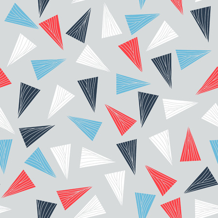 unstable: Seamless pattern with colorful triangles. Abstract texture with triangles and hand drawn elements. Contrast puzzle background for decoration or backdrop. Unstable endless composition. Illustration