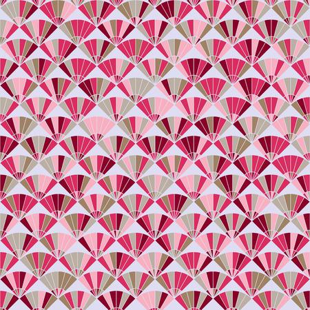 stitching: Plain fan background. Based on Traditional Japanese Embroidery. Abstract Seamless pattern. Based on Sashiko stitching - uchiwa. Illustration