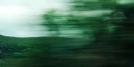 Defocused trees viewed through a car windscreen - vintage filter photography. Blurred action from car at high speed. Vague view through moving car window. Ring of Kerry, Ireland.