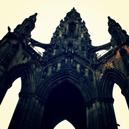 scott monument: Scott Monument vintage effect. Victorian Gothic architecture retro photo. Gothic monument in Edinburgh - vintage colors. Edinburgh, Scotland. Stock Photo