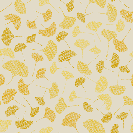 Seamless pattern with scratched ginkgo leaves. Autumn texture. bright colors. Grunge illustration. Colorful background. Contrast leaf backdrop. For decoration or wallpaper.