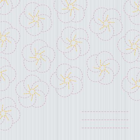 伝統的な日本刺繍。刺し子。さくら。春桜の花の背景。コピーのテキストのための領域と花の背景。桜の花のバナーします。柔らかい色。  イラスト・ベクター素材