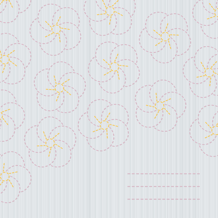space for text: Traditional japanese embroidery. Sashiko. Sakura. Spring cherry blossoms backdrop. Floral background with copy space for text. Banner with sakura blossoms. Tender colors.