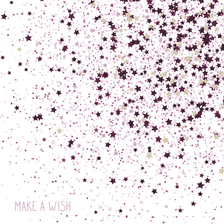 'Make a Wish!' Greeting Card. Simple postcard with Scattered tiny stars. Plain flyer with stars symbols. Star background card. Scattered tiny stars with texture. Vector backdrop. Ilustração Vetorial