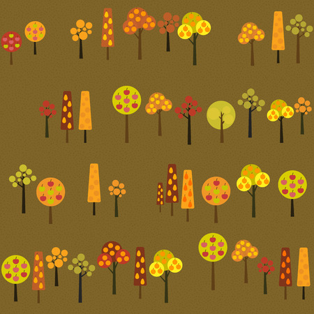 harvest time: Fruit trees in Harvest time. Texture with various apple, orange and pear trees in the garden. Autumn season illustration with Harvesting Fruit Trees. Seamless vector pattern.