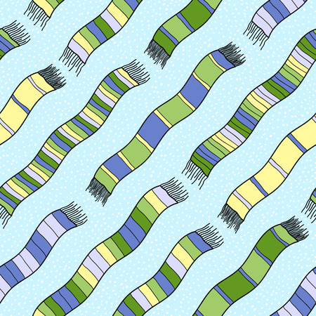 scarves: Funny green colored illustration with scarves for decoration or background.