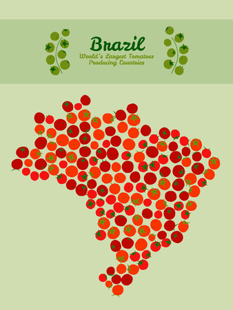producing: Map of Brazil made out of red tomatoes. Red tomato background. Tomato flyer or leaflet. Brazil map poster or card. Series: World?s Largest Tomatoes Producing Countries. Tomato banner or invitation. Illustration