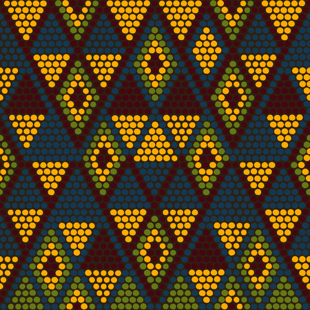 beads: Hand drawn Ethnic background based on African ornaments. Stylized texture with triangles. Warm background for decoration or backdrop.