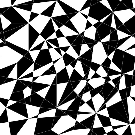 unstable: Abstract mosaic pattern with triangles. Seamless vector. Stylized texture with black and white lines and triangles. Monochrome puzzle background for decoration or backdrop. Unstable composition.