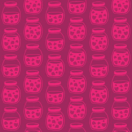 tinned: Red Pink seamless pattern with the Strawberry jam jars. Plain shadeless background with Strawberries for decoration or background.
