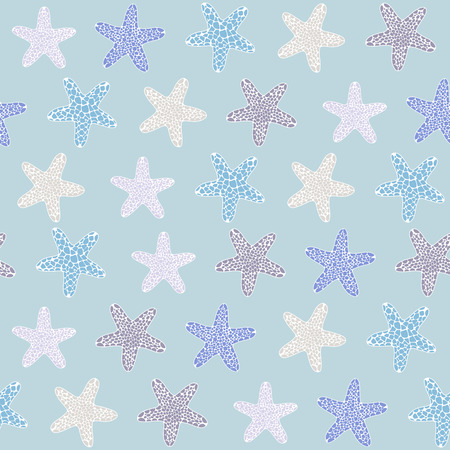 Starfish background. Seamless tropical texture. Ocean illustration for wallpaper, webpage background, surface textures. Pattern fills. For decoration or printing on fabric. Fauna ornament. Illustration