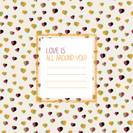 holidays for couples: Love is all around you! postcard. For Valentines Day. Greeting Card with hearts. Copy space for text. Simple design for flyer, invitation or poster. Can be used as seamless pattern.