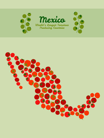 producing: Red tomato background. Mexico map poster or card. Tomato flyer or leaflet. Mexico map poster or card. Series: World?s Largest Tomatoes Producing Countries. Illustration. Veggie background.