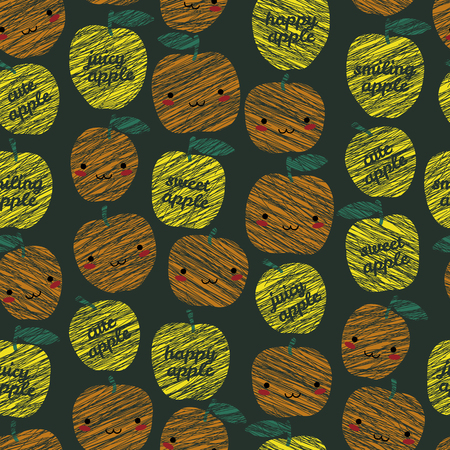 manga style: Sweet apple, cute apple typography. Seamless pattern. Seamless pattern with scratched smiling apples, summer harvest background. Japanese manga style. Endless texture, fruit background. Dessert backdrop.
