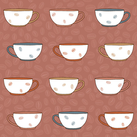 Cosy background with colorful coffee cups. Plain decoration for background or wrapping.