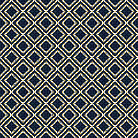 Ethnic Ornament. Seamless pattern. Bead imitation. Stylized texture with rhombs. Contrast background for decoration or backdrop. Bead scatter.