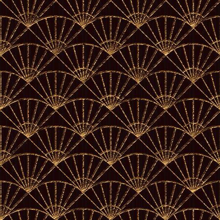Seamless basée sur des motifs de sashiko japonais. couleur d'or. Sashiko avec les fans. Résumé toile de fond géométrique. Sashiko motifs - ventilateurs (Uchiwa). Pour la décoration ou l'impression sur tissu.