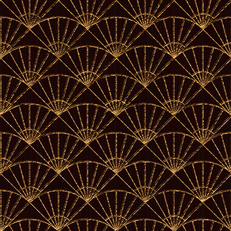 Seamless pattern based on japanese sashiko motifs. Golden color. Sashiko with fans. Abstract geometric backdrop. Sashiko motif - fans (Uchiwa). For decoration or printing on fabric. Stock fotó - 54143615