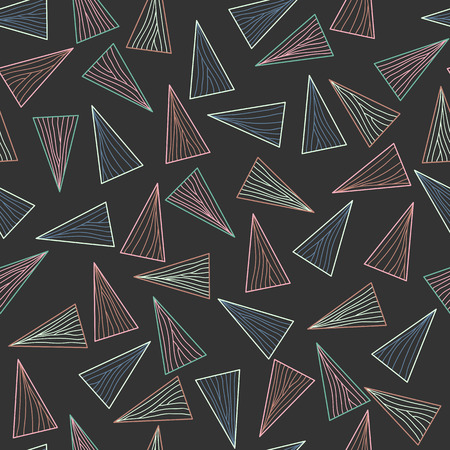 Dark pattern with lines and triangles. Seamless. Abstract delta texture. Contrast puzzle background for decoration or backdrop. Unstable endless composition. Vetores
