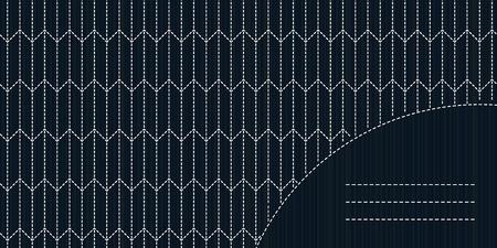 モノクロ刺し子モチーフ コピーのテキストのための領域。日本刺しゅうカード。テキスト フレーム。アンティーク日本手芸品。シンプルなモチーフ
