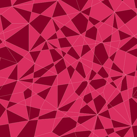 unstable: Abstract mosaic pattern with triangles. Seamless vector. Stylized texture with pink and red triangles. Warm puzzle background for decoration or backdrop. Unstable composition.
