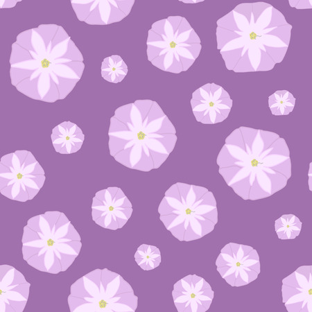 ipomoea: Simple Seamless Pattern with Pink Ipomoea Flowers. Shadeless retro ornate. Plain texture with Convolvulus Flowers for decoration or background. Illustration