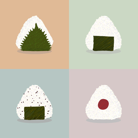 Four types of onigiri (Rice balls). Japanese cuisine. Illustration. Lunch. Onigiri filled with shiso leaf, nori seaweed, nori seaweed and sesame seeds, pickled plum. Can be used as seamless pattern.