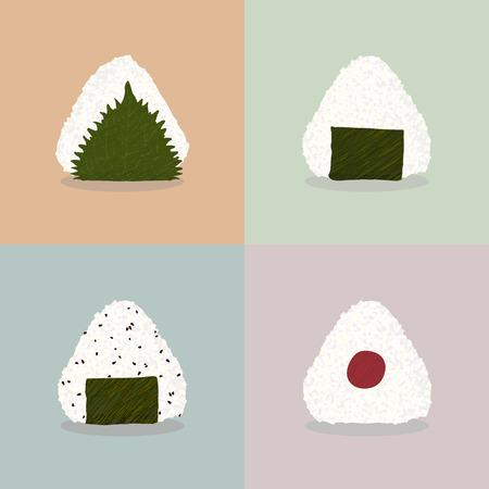 Vier Arten von onigiri (Reisbällchen). Japanische Küche. Illustration. Mittagessen. Onigiri mit Shisoblatt gefüllt, Nori-Algen, Nori-Algen und Sesam, eingelegte Pflaumen. Kann als nahtlose Muster verwendet werden. Vektorgrafik