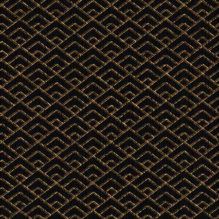 Patrón sin fisuras con base en motivos sashiko japonés. Color dorado. Sashiko con triángulos. adorno de diamantes. telón de fondo geométrico abstracto. Para la decoración o impresión sobre tela.