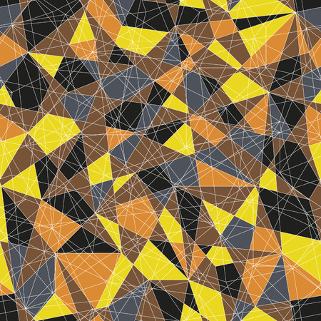 delta: Abstract mosaic pattern with yellow and orange triangles. Seamless vector. Stylized delta texture. Warm colored puzzle background for decoration or backdrop. Unstable endless composition. Illustration
