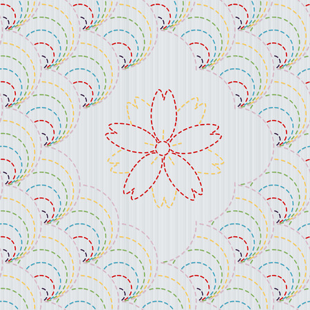 embroidery flower: Traditional Japanese Embroidery Ornament with sakura flower.  Colorful round sashiko morif. Abstract arc backdrop. Needlework texture. Vector. Can be used as seamless pattern.
