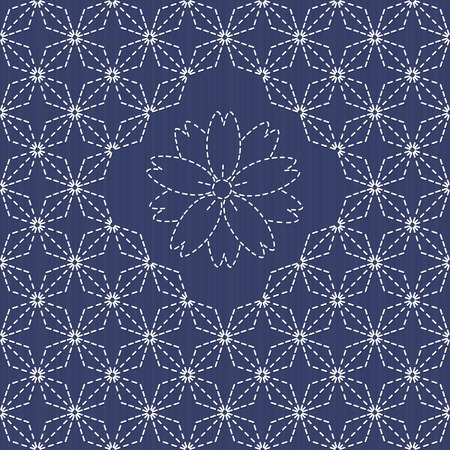embroidery flower: Traditional Japanese Embroidery Ornament with fan and sakura flower. Sashiko motif - rhombuses and sakura flower. Abstract backdrop. Needlework texture. Vector. Can be used as seamless pattern.
