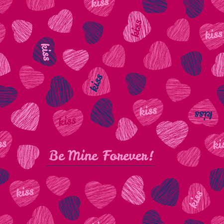 corazones azules: Be Mine Forever! typography. Happy Valentines Day Love Card. Contrast postcard with hearts. Blue and pink colors.