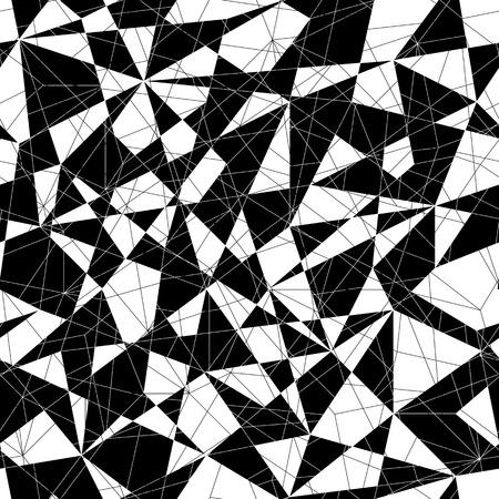 三角形の抽象的なモザイク パターン。シームレスなベクトル。白と黒の線と三角形の様式化されたテクスチャです。