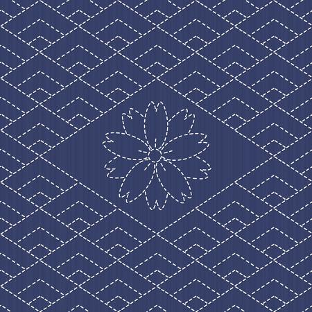 Ornement de broderie traditionnelle japonaise avec losanges et sakura fleur. Vector seamless pattern. Sashiko motif - diamants. Résumé toile de fond. Needlework texture. Peut être utilisé comme pattern.