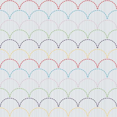 伝統的な日本刺繍飾り刺し子モチーフのカラフルな波。抽象的な背景。針仕事のテクスチャです。シームレス パターン。 装飾または布で印刷。パタ