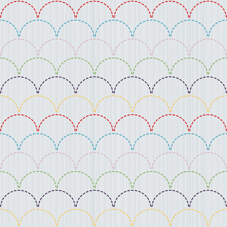 Traditional Japanese Embroidery Ornament  Sashiko motif - colorful waves. Abstract backdrop. Needlework texture. Seamless vector pattern.  For decoration or printing on fabric. Pattern fills.