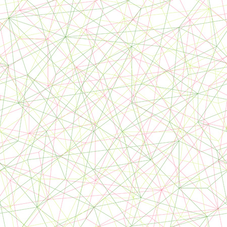 unstable: Abstract mosaic pattern with triangles. Seamless vector. Stylized texture with pink and green lines. Bright puzzle background for decoration or backdrop. Unstable composition.