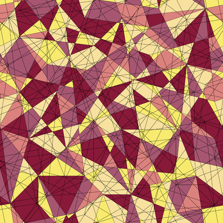 Abstract mosaic pattern with yellow and red triangles. Seamless vector. Stylized delta texture. Warm colored puzzle background for decoration or backdrop. Unstable endless composition.