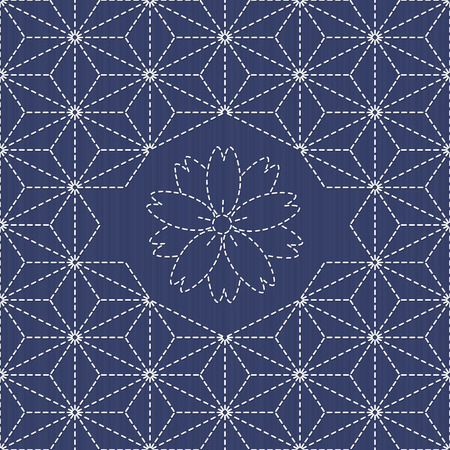 Traditional Japanese Embroidery Ornament with sakura flower.  Sashiko. Scattered hemp leaf motif (tobi asa-no-ha).  Abstract backdrop. Needlework texture. Vector. Can be used as seamless pattern.