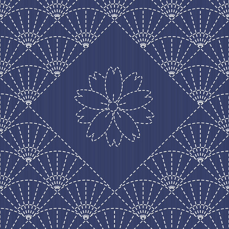 plain stitch: Traditional Japanese Embroidery Ornament with fan and sakura flower. Sashiko motif - fans (uchiwa) and sakura flower. Abstract backdrop. Needlework texture. Vector. Can be used as seamless pattern.