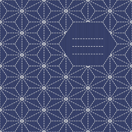 Traditional Japanese Embroidery Ornament with leaves and place for your text. Text frame. Sashiko. Scattered hemp leaf motif (tobi asa-no-ha). Abstract backdrop. Needlework texture. Vector. Can be used as seamless pattern.